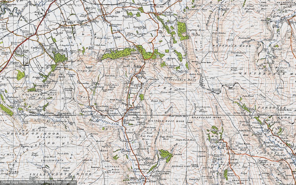 Old Map of Historic Map covering Todd Intake Moor in 1947