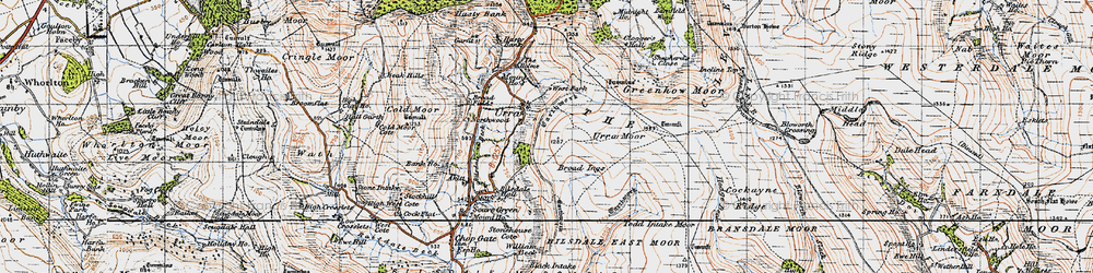 Old map of Todd Intake Moor in 1947
