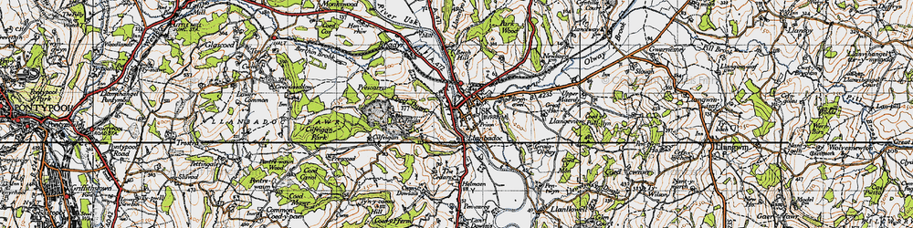 Old map of Usk in 1946
