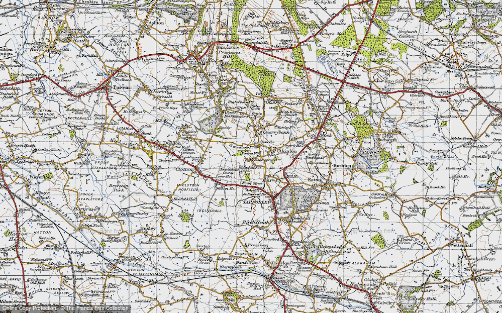 Old Map of Historic Map covering Ash Hill Ho in 1947