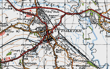 Old map of Uttoxeter in 1946