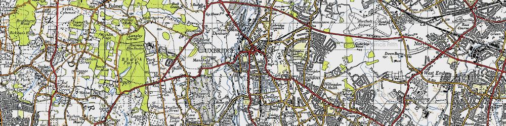Old map of Uxbridge in 1945