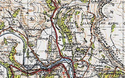Old map of Valle Crucis Abbey in 1947