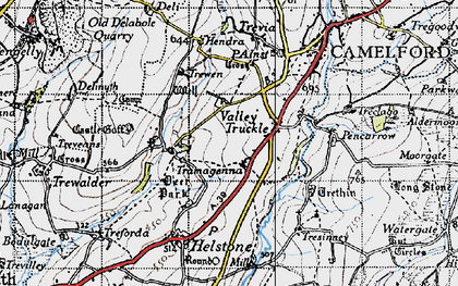 Old map of Valley Truckle in 1946