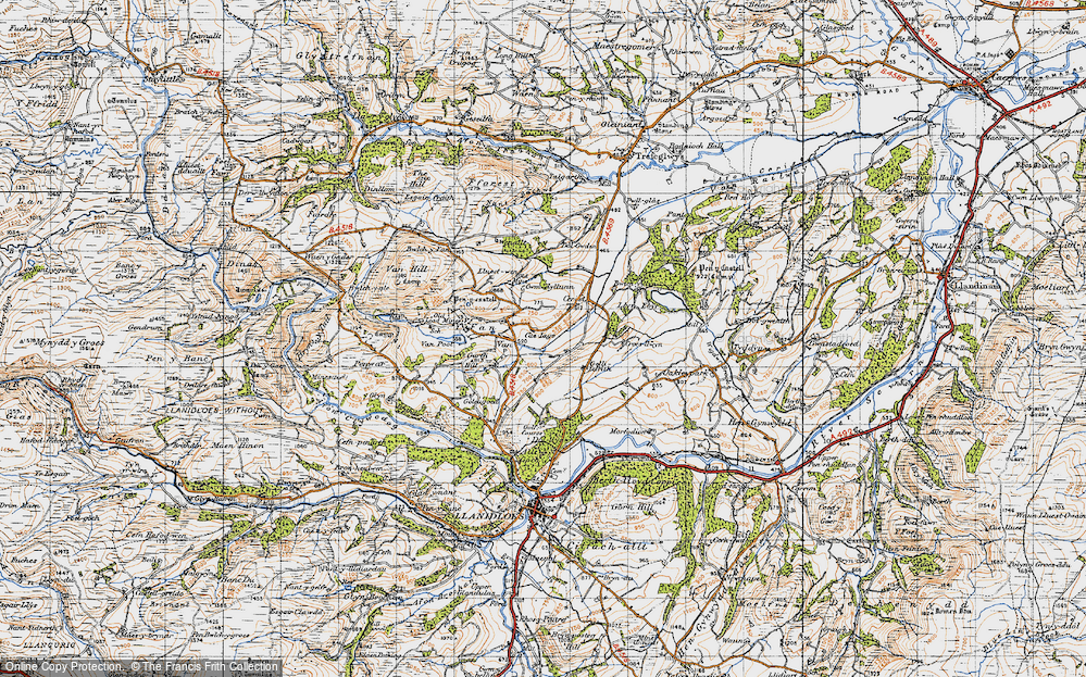 Old Map of Historic Map covering Y Fan in 1947