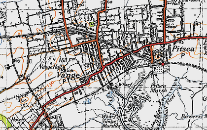 Old map of Vange in 1945