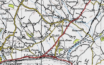 Old map of Varfell in 1946