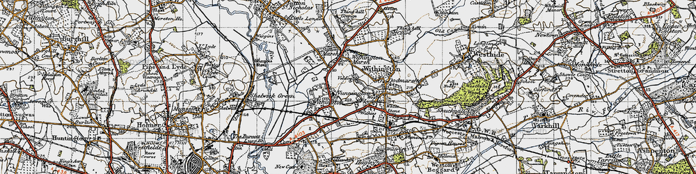 Old map of Nunnington in 1947