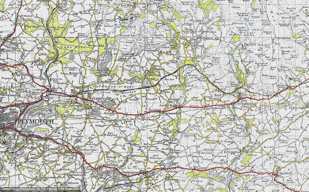 Old Map of Historic Map covering Langage in 1946