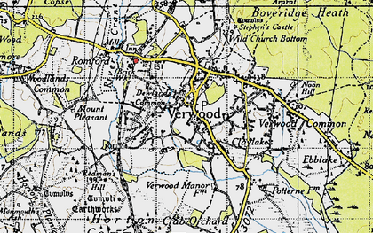 Old map of Verwood in 1940