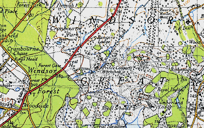 Old map of Windsor Great Park in 1940