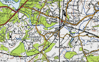 Old map of Virginia Water in 1940