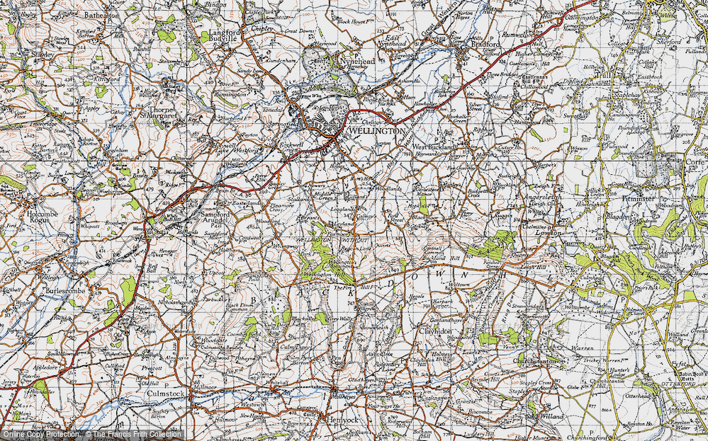 Old Map of Historic Map covering Legglands in 1946