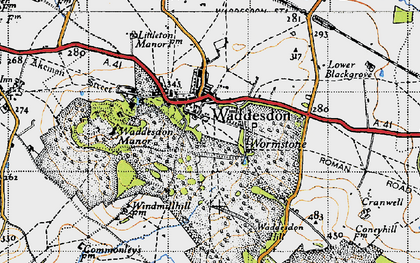 Old map of Waddesdon in 1946