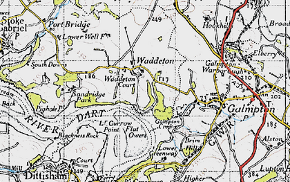 Old map of Waddeton in 1946