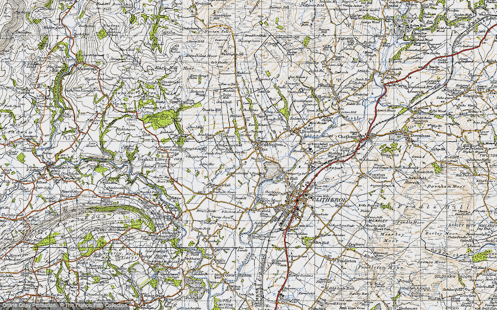 Old Map of Historic Map covering Backridge Fm in 1947