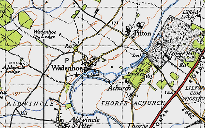 Old map of Aldwincle Lodge in 1946