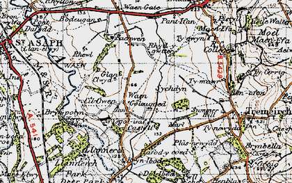 Old map of Waen Goleugoed in 1947