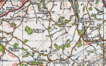 Old map of Afon Cegin in 1947
