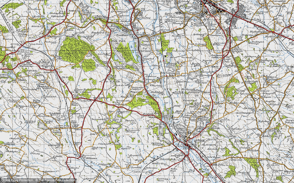 Old Map of Historic Map covering Tittensor Chase in 1946