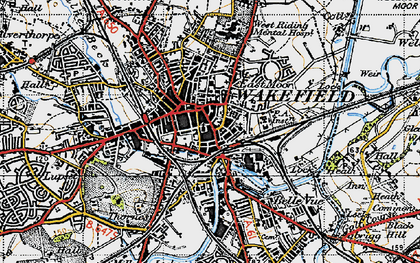 Old map of Wakefield in 1947