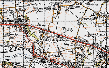 Old map of Walbottle in 1947