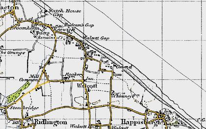 Old map of Walcott in 1945