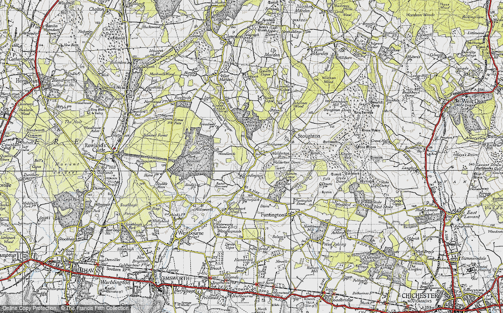 Old Map of Historic Map covering Woodlands Cotts in 1945