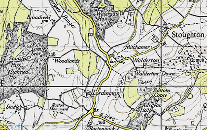 Old map of Woodlands Cotts in 1945