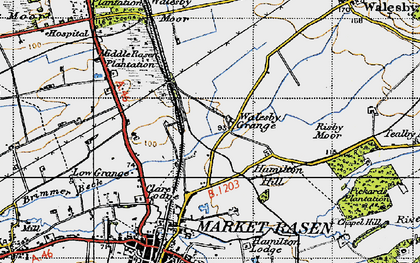 Old map of Willingham Forest in 1946