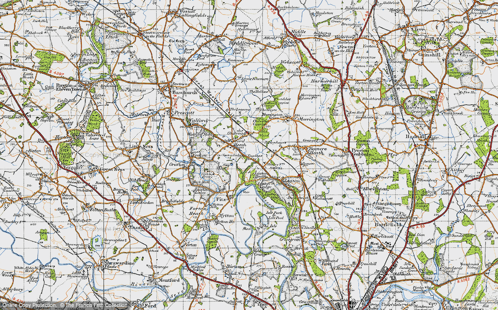 Old Map of Historic Map covering Old Woods in 1947