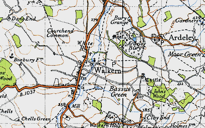 Old map of Walkern in 1946