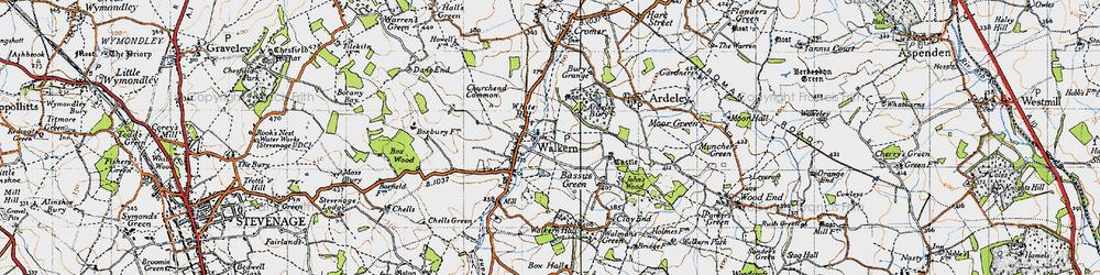 Old map of Walkern in 1946