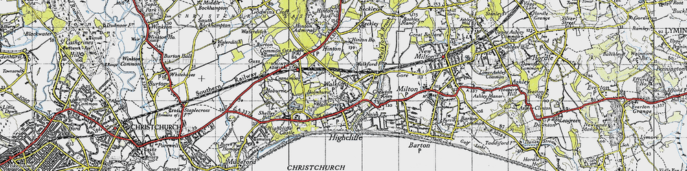 Old map of Walkford in 1940