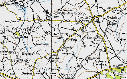 Old map of Wall in 1946