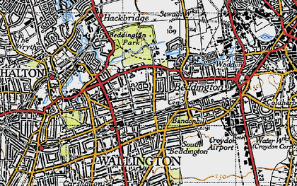 Old map of Wallington in 1945