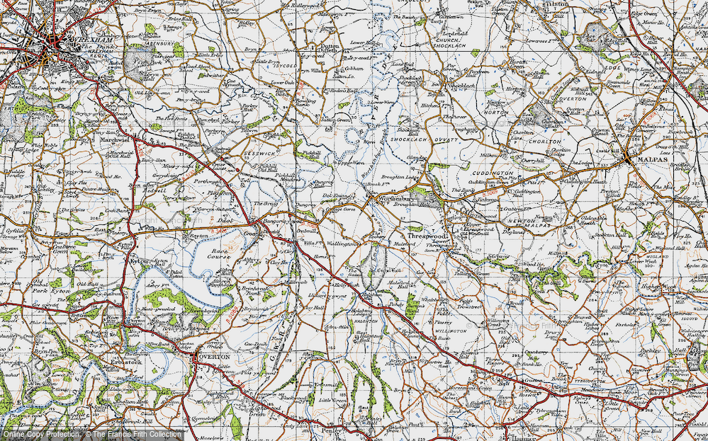 Old Map of Historic Map covering Worthenbury Brook in 1947