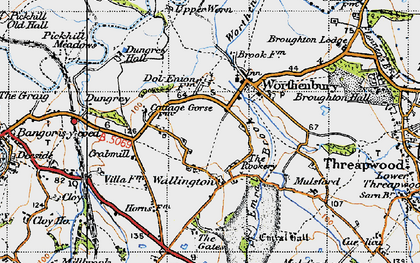Old map of Worthenbury Brook in 1947