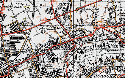 Old map of Wallsend in 1947