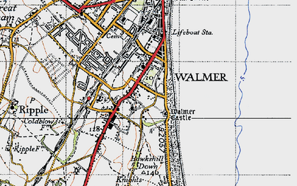 Old map of Walmer in 1947