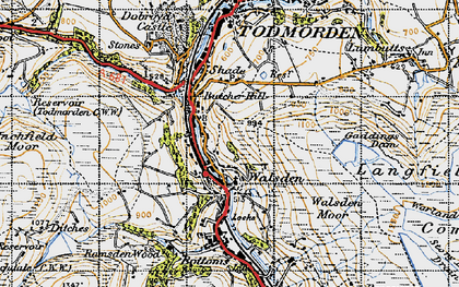 Old map of Walsden in 1947