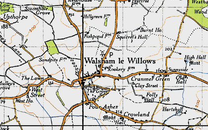 Old map of Walsham Le Willows in 1946