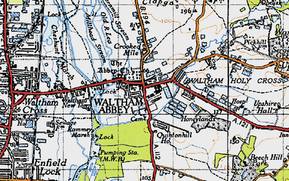 Old map of Waltham Abbey in 1946