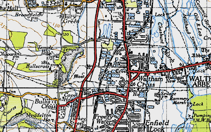 Old map of Waltham Cross in 1946