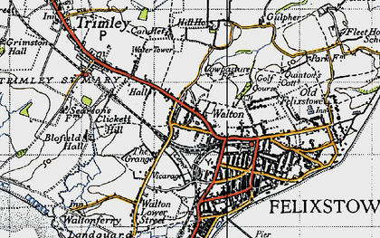 Old map of Walton in 1946