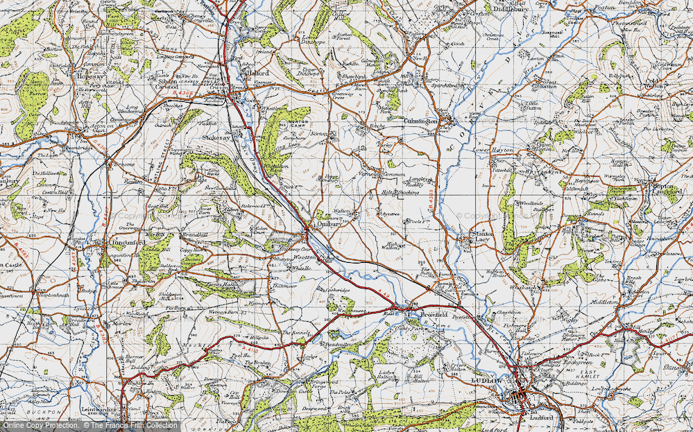 Old Map of Historic Map covering Ayntree in 1947