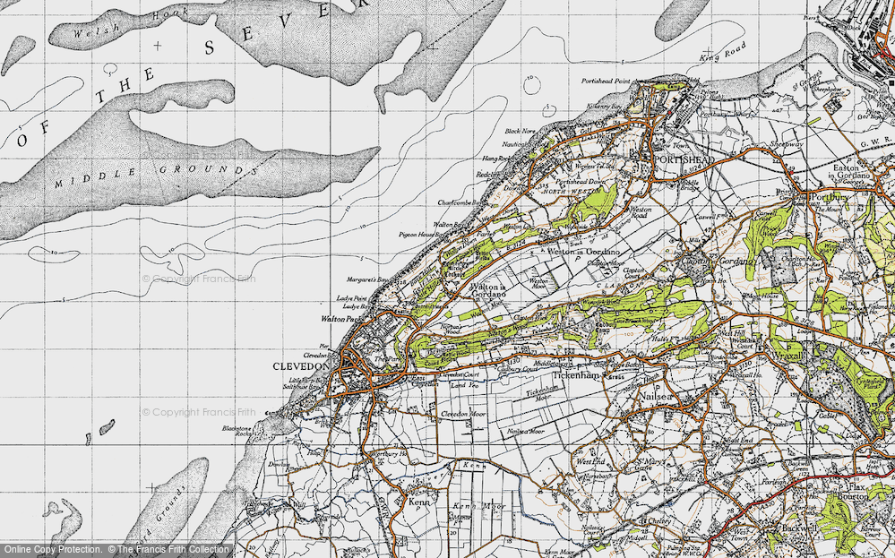 Old Map of Historic Map covering Walton Bay in 1946