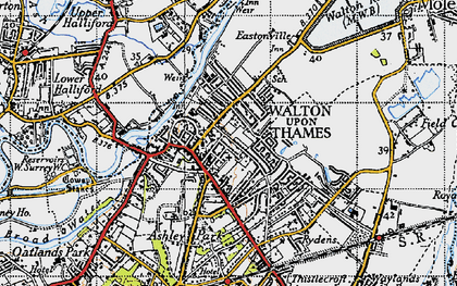 Old map of Walton-on-Thames in 1940
