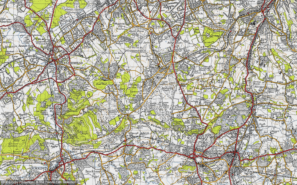 Old Map of Historic Map covering Banstead Heath in 1945