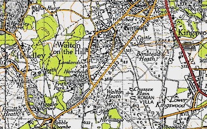 Old map of Banstead Heath in 1945